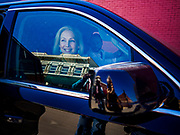 19 APRIL 2019 - HARLAN, IOWA: US Senator KIRSTEN GILLIBRAND sits in her car after a campaign event in Harlan, a rural Iowa town. Gillibrand is campaigning in western Iowa Friday to support her candidacy to be the Democratic nominee for the US presidency in the 2020 election. Iowa traditionally hosts the the first selection event of the presidential election cycle. The Iowa Caucuses will be on Feb. 3, 2020.                PHOTO BY JACK KURTZ