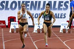 July 20, 2018 - Monaco, France - 100 metres femme - Dafne Schippers (Hollande) - Mujinga Kambundji  (Credit Image: © Panoramic via ZUMA Press)