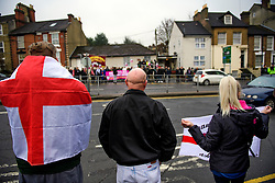 © Licensed to London News Pictures. 07/01/2017. London, UK. Members of the far-right group The South East Alliance protest against the expansion of Mote Road Islamic centre mosque in Maidstone, Kent. Plans to redevelop Maidstone Mosque into a purpose-built centre with three shops have been approved by  Maidstone Borough Council. A counter demonstration is Organised by The Kent Anti-Racism Network. . Photo credit: Ben Cawthra/LNP