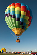 A hot air balloon lifts off in the early morning at the Albuquerque Balloon Fiesta in New Mexico.