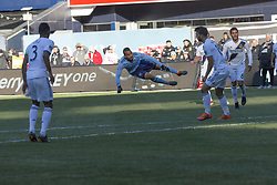 March 11, 2018 - New York, New York, United States - Yangel Herrera (30) of NYC FC shoots ball on goal during regular MLS game against LA Galaxy at Yankee stadium NYC FC won 2 - 1  (Credit Image: © Lev Radin/Pacific Press via ZUMA Wire)