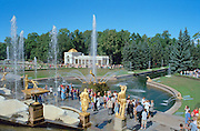 Saint Petersburg, Russia, August 2002..The suburban  palaces & gardens at Peterhof, or Petrodvorets, were built by Peter the Great as a rival to Versailles. They include trick fountains designed to soak the unwary passerby...