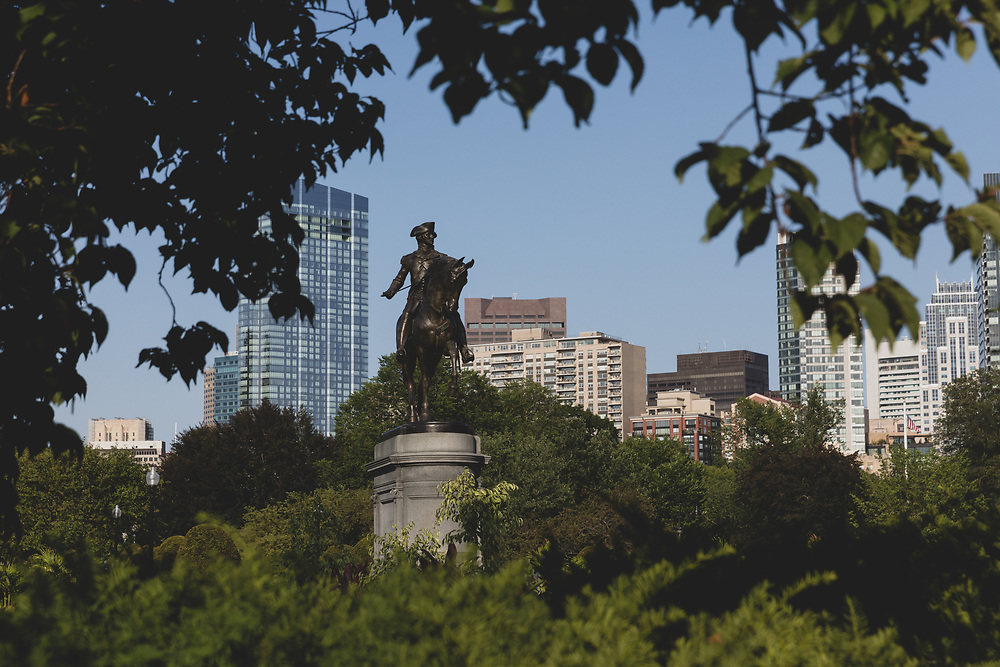 The George Washington statue in Boston Common seen on a summer afternoon.