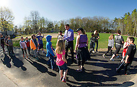 Principal David Levesque with students on their new walking path dedicated on Wednesday morning at Pleasant Street School.  (Karen Bobotas/for the Laconia Daily Sun)