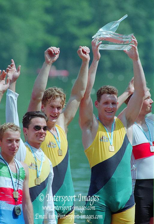 Lucerne, Switzerland. 1995 FISA WC III, Lake Rotsee, Lucerne,<br /> Medal ceramony, AUS M2+.<br /> [Mandatory Credit. Peter SPURRIER/Intersport Images]<br /> <br /> Image scanned from Colour Negative