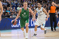 Real Madrid Facundo Campazzo and Unicaja Sasu Salin during Turkish Airlines Euroleague match between Real Madrid and Unicaja at Wizink Center in Madrid, Spain. November 16, 2017. (ALTERPHOTOS/Borja B.Hojas)