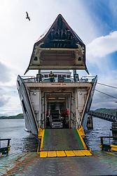 Caledonian MacBrayne (CalMac) passenger ferry Isle of Arran embarks at Kennacraig terminal on arrival from Islay, Argyll & Bute Scotland UK