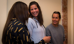 February 9, 2019 - Doha, QATAR - Barbora Strycova of the Czech Republic, Julia Goerges of Germany & Fatma Al-Nabhani of Oman attend the draw ceremony of the 2019 Qatar Total Open WTA Premier tennis tournament (Credit Image: © AFP7 via ZUMA Wire)