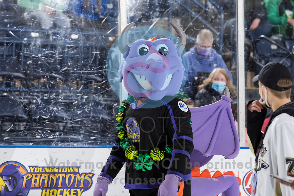 Youngstown Phantoms lose 5-4 to the Dubuque Fighting Saints at the Covelli Centre on March 13, 2021.<br /> <br /> Sparky, mascot