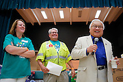 Congressman Michael Honda welcomes students, parents, and Comcast employees during Comcast Cares Day at Curtner Elementary School in Milpitas, California, on April 27, 2013. (Stan Olszewski/SOSKIphoto)