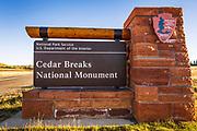Enrance sign, Cedar Breaks National Monument, Utah USA