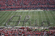 """COLUMBUS, OH - OCTOBER 21:  The Ohio State University Marching Band performs """"Script Ohio"""" during pre-game before Buckeyes play the Indiana Hoosiers on October 7, 2006 at Ohio  Stadium in Columbus, Ohio.  Ohio State beat the Hoosiers 44-3. Credit: Bryan Rinnert"""