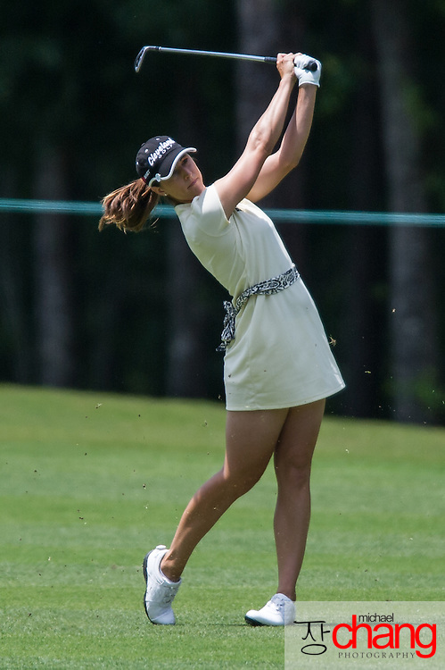 April 27 2012: Paige Mackenzie hits her approach shot at the 18 hole during the Mobile Bay LPGA Classic at Magnolia Grove in Mobile, AL.