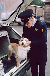 RSPCA officer examining dog,