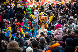 © Licensed to London News Pictures . 10/02/2019 . Manchester , UK . People celebrate Chinese New Year in Manchester with a display of oriental culture and a procession through the city centre . Photo credit : Joel Goodman/LNP
