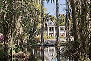 Plantation house seen from the garden lake at Magnolia Plantation April 10, 2014 in Charleston, SC.