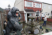 Gorilla sculpture. A staunch unionist area. Shankhill Road estate, Belfast. It is a staunch unionist area, fiercely pro-Britain. Their representatives, the Democratic Unionist Party, founded by Ian Paisley in 1971, are presently in parliament in collusion with the conservative party, looking for a hard Brexit with a border between Northern Ireland and the South. The ten DUP votes gives the conservative party its majority in government. This is nothing new. During the 'Troubles' three decades of bloodshed, with Catholic Irish Republican Nationalists seeking to unit Ireland, the pro-British Protestant loyalists wanted to remain part of the United Kingdom