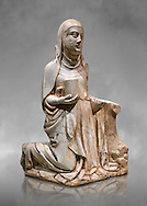 Gothic marble statue of Mary Magdelane (Magdelena) by Mestre de Pedralbes of Barcelona, 2nd half of 14th Century, from the cemetery of the cathedral of Barcelona.  National Museum of Catalan Art, Barcelona, Spain, inv no: MNAC  9797. Against a grey art background. .<br /> <br /> If you prefer you can also buy from our ALAMY PHOTO LIBRARY  Collection visit : https://www.alamy.com/portfolio/paul-williams-funkystock/gothic-art-antiquities.html  Type -     MANAC    - into the LOWER SEARCH WITHIN GALLERY box. Refine search by adding background colour, place, museum etc<br /> <br /> Visit our MEDIEVAL GOTHIC ART PHOTO COLLECTIONS for more   photos  to download or buy as prints https://funkystock.photoshelter.com/gallery-collection/Medieval-Gothic-Art-Antiquities-Historic-Sites-Pictures-Images-of/C0000gZ8POl_DCqE