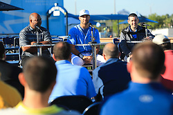 March 20, 2017 - Port Charlotte, Florida, U.S. - WILL VRAGOVIC   |   Times.Tampa Bay Rays center fielder Kevin Kiermaier (39), center, answers questions during a press conference announcing his six-year, $53.5 million deal with the team at Charlotte Sports Park in Port Charlotte, Fla. on Friday, March 17, 2017. Also pictured, agent Larry Reynolds, left, and Rays president of baseball operations Matt Silverman. (Credit Image: © Will Vragovic/Tampa Bay Times via ZUMA Wire)