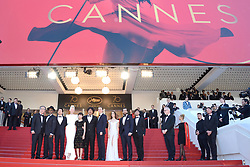 Actors Byung Heebong, Steven Yeun, Giancarlo Esposito, Tilda Swinton, Ahn Seo-Hyun, director Bong Joon-Ho, actors Paul Dano, Lily Collins, Jake Gyllenhaal and Devon Bostic attending the Okja Screening as part of the 70th Cannes Film Festival in Cannes, France on May 19, 2017. Photo by Aurore Marechal/ABACAPRESS.COM