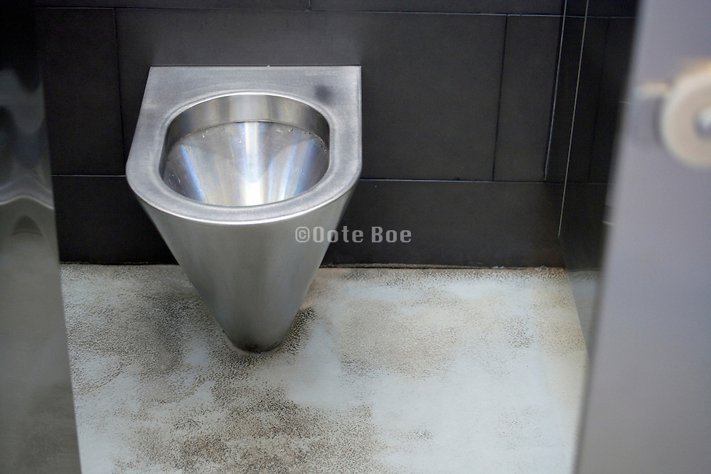 stainless steel public toilet open door