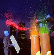 Blue Man Group on Stilts.  Improvised act atop the Clocktower Gallery in New York City.