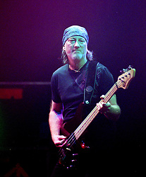 Roger Glover Bass Guitarist with the legendry Rock Band Deep Purple, Rocking the Sheffield City Hall audience on Feb 12 2002. The two hour set,  part of the bands 2002 - 2003 world tour featured many of the old classics, When a Blindman Cries, Hush,Smoke On The Water, Black Night, Woman from Tokyo, Highway Star, Lazy alnong with some of the newer numbers and one Brand new and as yet unrecorded song.