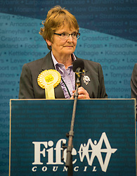 After a third recount in the North East Fife constituency the SNP's Stephen Gethins was elected  with a majority of 2, beating the Lib Dem's Elizabeth Riches. The count went on for almost 7 hours, resulting in counting staff sleeping at their positions. Elizabeth Riches is pictured after the result was announced.<br /> © Dave Johnston/ EEm