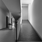 Poissy, France, 2002: View of the interior ramp at first floor, Savoie house (1929) at street of Villers - Le Corbusier arch - . Photographs by Alejandro Sala, (Historical archive AS)