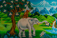 Mural of The Four Harmonious Friends (Bird, Hare, Monkey & Elephant), Songzanlin (Ganden Sumtsenling) Monastery, Shangri La, Yunnan Province, China. It is the largest Tibetan Buddhist monastery in Yunnan Province.