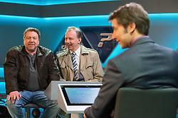 """18.04.2016, WDR Studios, Koeln, GER, TV Komoedie, Ein Schnitzel geht immer, Fototermin, im Bild Armin Rhode (Schauspieler, als Guenther Kuballa) mit Ludger Pistor (Schauspieler, als Wolfgang Krettek) sitzen dem Moderator in der Quiz-Schow """"Doppelquiz"""" gegenueber und hoffen auf den grossen Gewinn // during a photocall of german TV comedy 'Ein Schnitzel geht immer' at the WDR Studios in Koeln, Germany on 2016/04/18. EXPA Pictures © 2016, PhotoCredit: EXPA/ Eibner-Pressefoto/ Deutzmann<br /> <br /> *****ATTENTION - OUT of GER*****"""