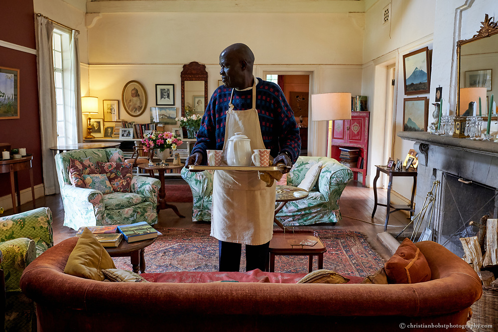 The living room at Rosslyan bed & breakfast. Built in 1919, Rosslyn is one of Nairobi's oldest and most special surviving homes. They offer 2 singles, 1 double & 1 shared bathroom with separate listings on airbnb.<br /> <br /> Rosslyn was used as the home and garden of 'The Constant Gardener' 2005 drama thriller film starring Ralph Fiennes and Rachel Weisz who won an Oscar for her role.<br /> <br /> Full English breakfast is a house specialty, fresh fruit, tea or freshly brewed fine Kenya coffee, cooked breakfast with our own free range eggs, toast, marmalades, muesli/oats/porridge are all available.