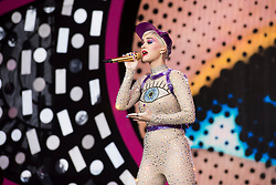 EDITORIAL USE ONLY NO MERCHANDISING  OR COMMERCIAL USE. <br />Katy Perry performing on the Pyramid Stage during the Glastonbury Festival at Worthy Farm in Pilton, Somerset. Picture date: Saturday June 24th 2017. Photo credit should read: Matt Crossick/ EMPICS Entertainment.