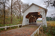 USA, Oregon, Corvallis, Irish Bend Bridge. Digital Composite, HDR