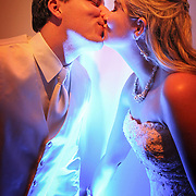 Newlyweds share a kiss at 701 Whaley in Columbia, S.C. <br /> ©Travis Bell Photography