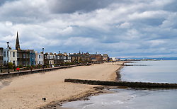 View of  empty Portobello Beach and promenade during coronavirus lockdown April 2020. Scotland, UK