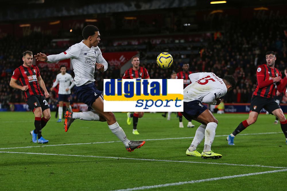 Football - 2019 / 2020 Premier League - AFC Bournemouth vs. Liverpool<br /> <br /> Alex Oxlade-Chamberlain of Liverpool ducks out of the way of a Trent Alexander-Arnold of Liverpool second half volley at the Vitality Stadium (Dean Court) Bournemouth <br /> <br /> COLORSPORT/SHAUN BOGGUST