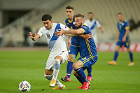 ATHENS, GREECE - OCTOBER 14: Dimitris Limniosof Greece and Fidan Alitiof Kosovo during the UEFA Nations League group stage match between Greece and Kosovo at OACA Spyros Louis on October 14, 2020 in Athens, Greece. (Photo by MB Media)