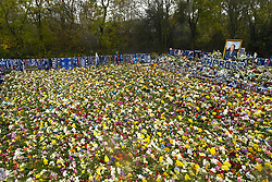 Floral tributes for those who lost their lives in the Leicester City helicopter crach including Leicester City Chairman Vichai Srivaddhanaprabha ahead of the Premier League match at the King Power Stadium, Leicester.