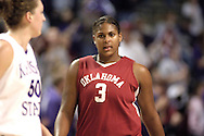 Oklahoma center Courtney Paris (3) walks down the court after a Sooner turn over , during the first half against Kansas State at Bramlage Coliseum in Manhattan, Kansas, February 21, 2006.  The 9th ranked Sooners defeated K-State 78-64.