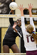 Oak Park's Taylor Hunter goes for the kill against Paso Robles during the first round of CIF-SS playoffs on Nov. 1, 2016 at Oak Park High School.