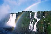 Rainbow forms at Iguazu Falls.Brazil