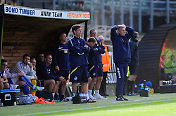 A dejected Bristol Rovers Manager, John Ward puts his hands on his head as he sees his team lose 1 - 0  - Photo mandatory by-line: Dougie Allward/JMP - Tel: Mobile: 07966 386802 07/09/2013 - SPORT - FOOTBALL -  Home Park - Plymouth - Plymouth Argyle V Bristol Rovers - Sky Bet League Two