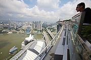 Singapore. Marina Bay Sands. View over Marina Bay and downtown.