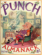 """Front cover of , """" Punch Almanack , 1934 """"  showing Mr Punch relaxing in his chair with his dog , Toby lying by his feet ...Illustrated by EH shepard..."""