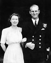 File photo dated 10/07/47 of the then Princess Elizabeth and Lieutenant Philip Mountbatten posing for their first engagement pictures at Buckingham Palace. The Duke of Edinburgh has died, Buckingham Palace has announced. Issue date: Friday April 9, 2020.. See PA story DEATH Philip. Photo credit should read: PA Wire