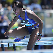 Tiffany  Porter, Great Britain, in action in the Women's 100m Hurdles during the Diamond League Adidas Grand Prix at Icahn Stadium, Randall's Island, Manhattan, New York, USA. 13th June 2015. Photo Tim Clayton