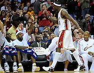 Ben Wallace, standing, gets high fives from LeBron James and the Cleveland bench in Wallace's first game as a Cavalier.