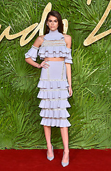 Kaia Gerber attending the Fashion Awards 2017, in partnership with Swarovski, held at the Royal Albert Hall, London. Picture Date: Monday 4th December, 2017. Photo credit should read: Matt Crossick/PA Wire