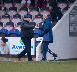06MAR21 Arbroath's manager Dick Campbell and Queen of the South's Manager Allan Johnston at the end. Arbroath 2 v 4 Queen of the South, Scottish Championship played 6/3/2021 at Arbroath's home ground, Gayfield Park.